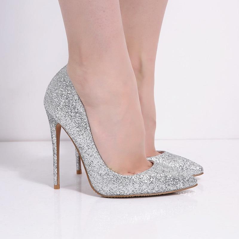 4428dda9169fc7 Marque femmes pompes 12 CM talons hauts argent paillettes chaussures de  mariage femme talons hauts Sexy dames chaussures femmes à talons hauts  pompes B 0225 ...