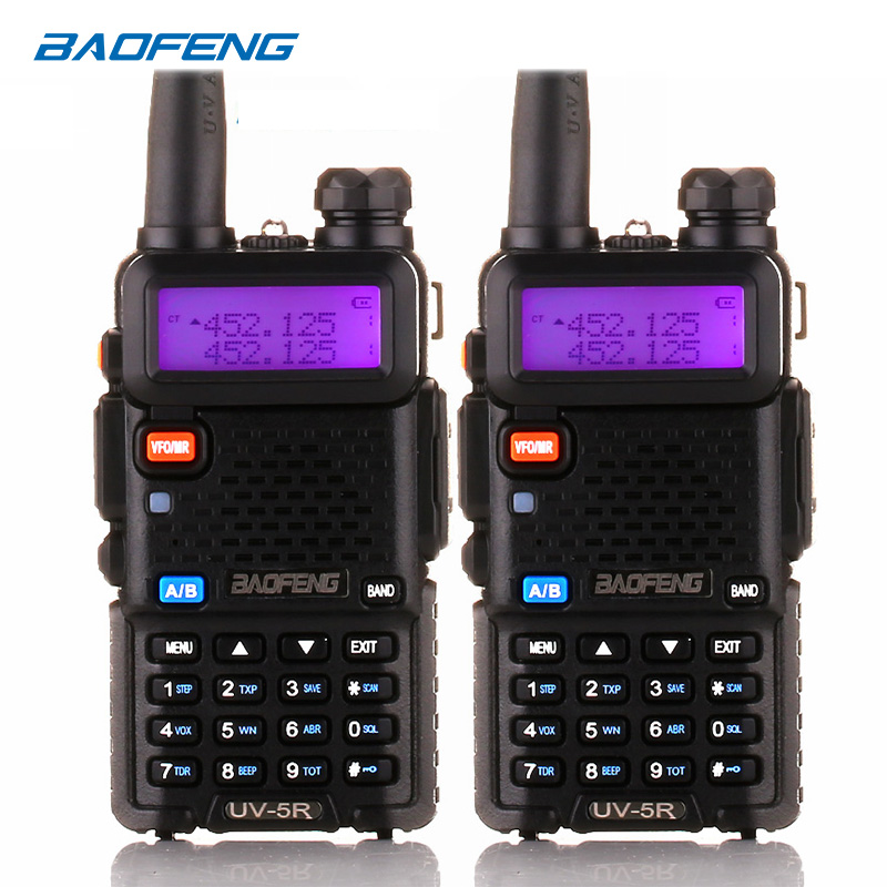 BaoFeng walkie talkie UV 5R 2pcs/lot two way radio baofeng uv5r 128CH 5W VHF UHF 136 174Mhz & 400 520Mhz-in Walkie Talkie from Cellphones & Telecommunications