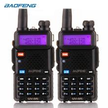 Walkie talkie baofeng uv5r 128ch 5w, rádio com 2 UV 5R vias, 2 pçs/lote, dois canais, vhf uhf 136 174mhz & 400 520mhz