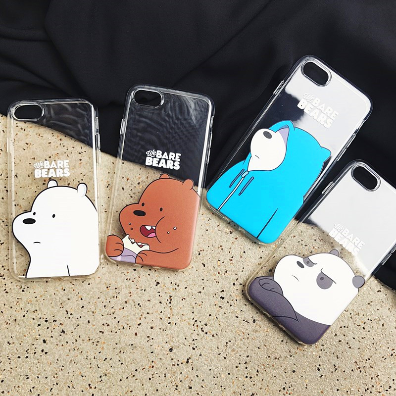 3d Cute Cartoon Toys Bears Brothers Phone Case For Iphone X Xr Xs Mas 6 6s 7 8 Plus Cute Panda Soft Transparent Case Back Cover High Quality Materials
