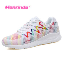 Monrinda Women Sport Shoes Rainbow Color Breathable Running Air shoes Lightweight Female Sneakers White Walking sapatillas mujer