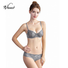 Wasteheart 2018 New Women Fashion Gray Sexy Lingerie Sets Underwire Lace Bow Cotton Panties Padded Push Up Bra Plus Size