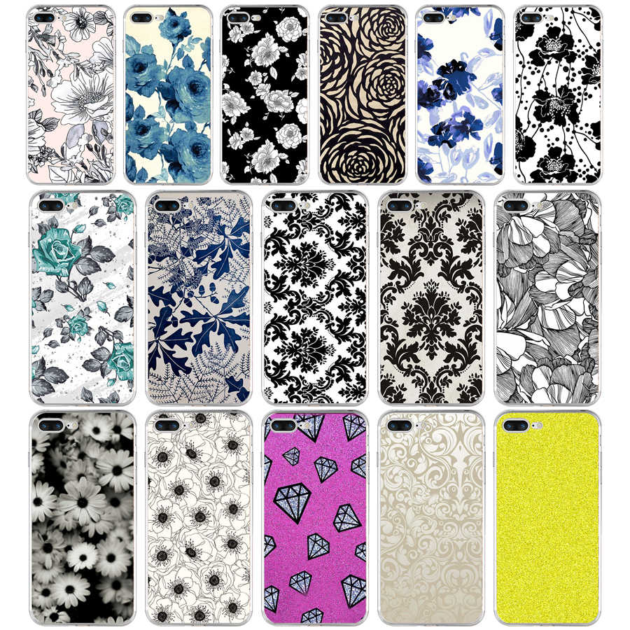 39aq Black And White Flower Wallpaper Soft Tpu Silicone Cover Case
