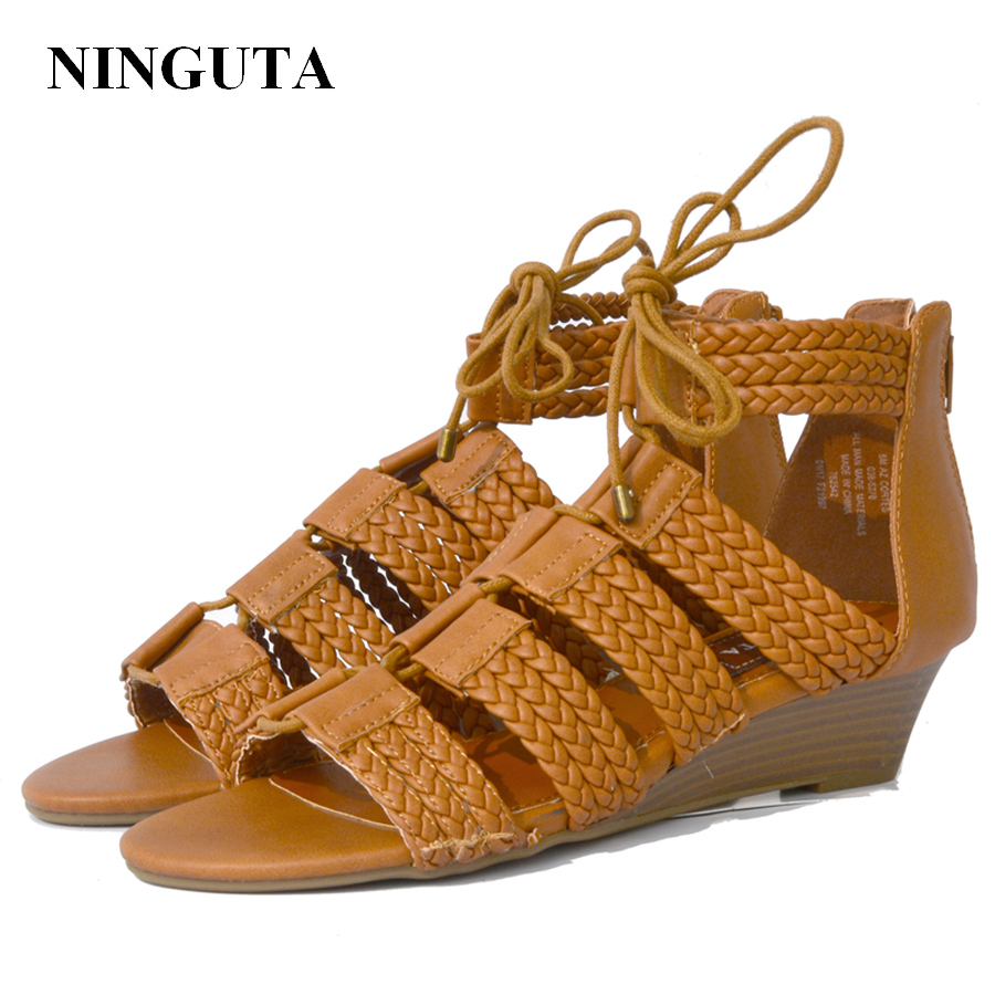 NINGUTA gladiator sandals women wedges shoes for women causal shoe big size