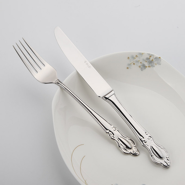 Stainless Steel Cutlery 24Pcs Flatware Set Quality Restaurant Vintage Table Knife Fork Spoon Dining Set