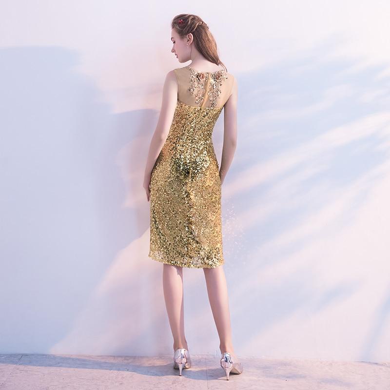 D'or Couleur Akn Gold Sans Genou Longueur Taille Élégant Femmes Manches Courte 011 Arrivée D'été Date Robe Personnalisée ICKqwHpK