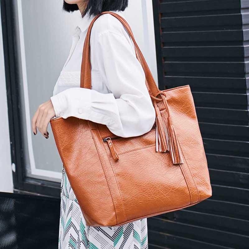 Brown Tassel Top -Handle Bags for Women Leather Handbags Tote Shoulder Bag Girls Causal Designer Large Capacity Shopping Bag