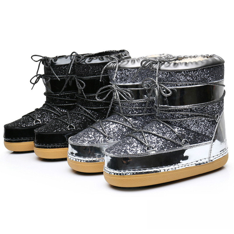 Winter boots, thick bottom sequins real hair blink boots snow boots womens ski boots