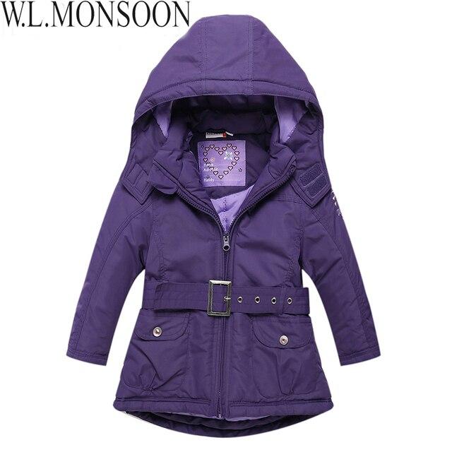 Бренд девочки куртка с завязки хлопок - мягкий девочки зима пальто закрытый воротник ветрозащитные дети зима куртка дети верхняя одежда