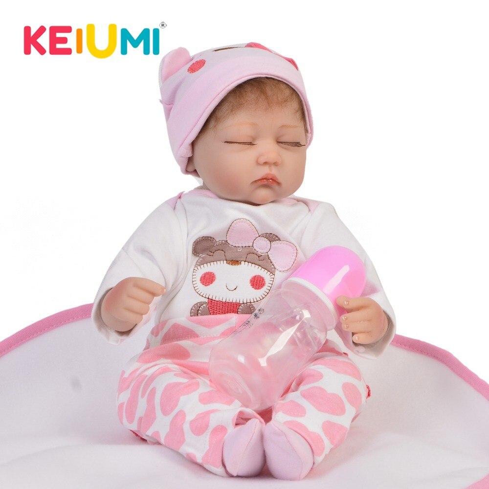 KEIUMI nouveauté Reborn fille poupées doux vinyle tissu corps mode réaliste yeux fermés poupée jouet bébé pour enfants cadeaux d'anniversaire-in Poupées from Jeux et loisirs    1