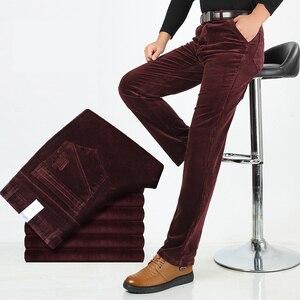 Image 2 - Pantalones de pana con estiramiento de pana para hombre, pantalones largos rectos, de negocios, informales, gruesos, de pana, para Otoño e Invierno