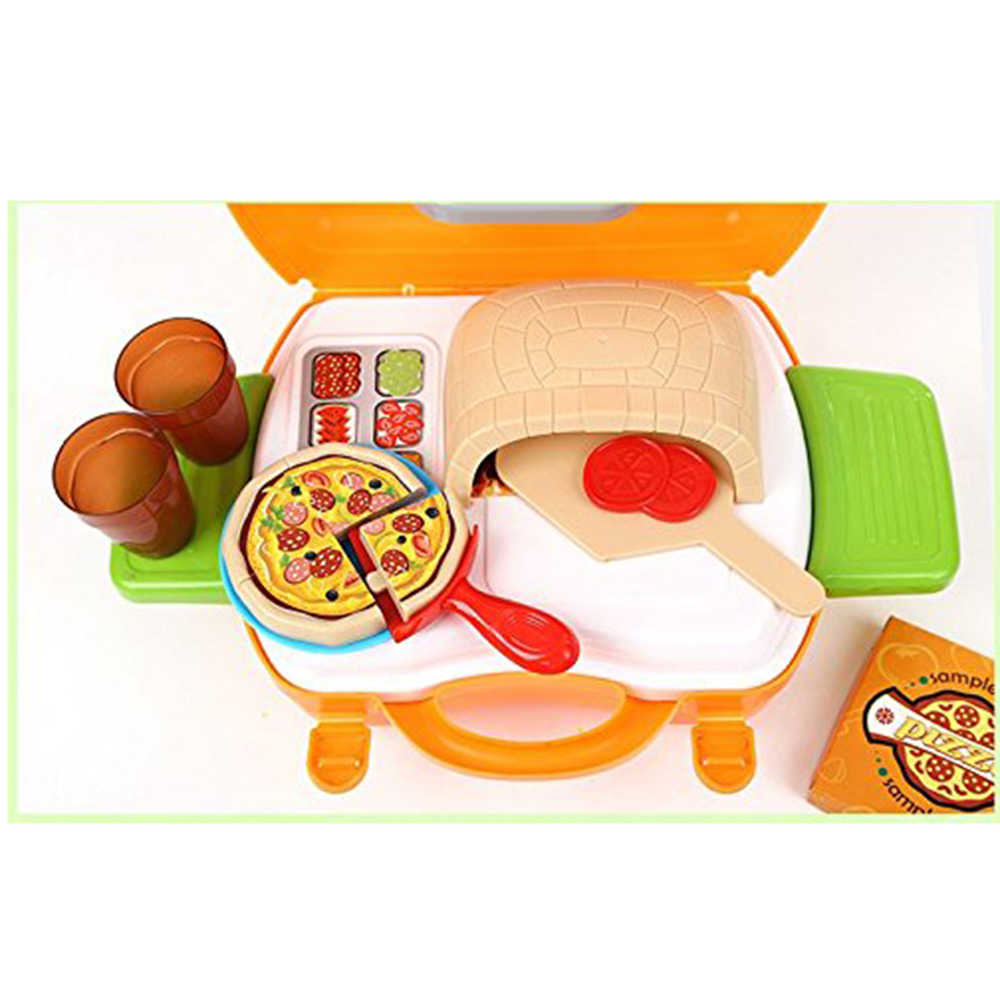 ff498aaf7b91 ... 22Pcs Cookware Role Play Pretend Play Toy Premium Pizza Oven Kits In  Suitcase Educational Children s Cooking ...