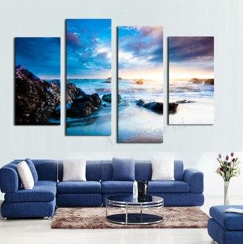 Decoracion Cuadros Sunrise Beach Leinwand Drucke Moderne 4 Panels Malerei  Wandkunst Cuadros Für Wohnzimmer Peinture Sur Toile