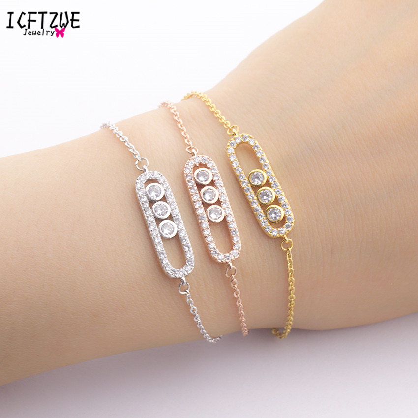 ICFTZWE Body Jewelry Stainless Steel Bracelet Femme Silver Hand Accessories For Women CZ Three Beads Gold Bracelet