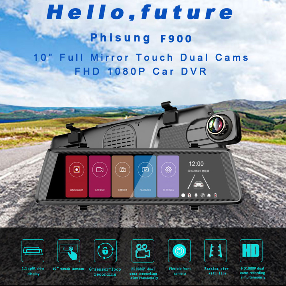 Full HD 1080P Dash Cam 10 inch Stream Media Car Video Camera DVR Driving Recorder Rearview Mirror Front and Rearview Camera цена