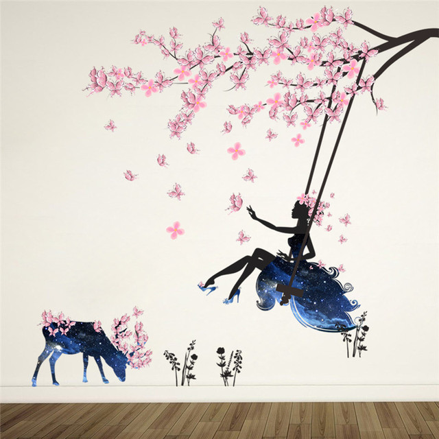 Romantic Floral Fairy Swing Wall Stickers for Kids Room Wall Decor Bedroom Living Room Children Girls Room Decal Poster Mural
