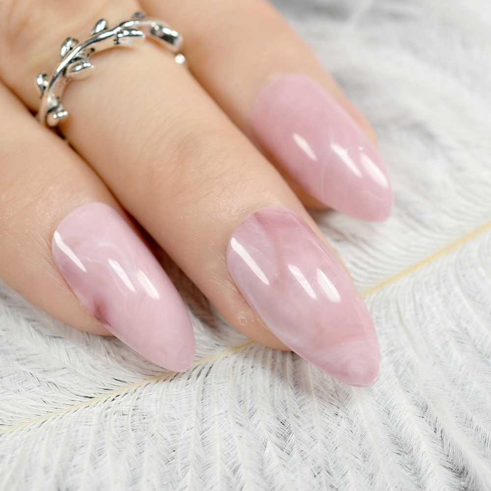 24Pcs Pink Marble Pre-designed Fake Nails Medium Sharp Stiletto False Nail Full Cover Elegant UV Gel Polish Salon Product Z799