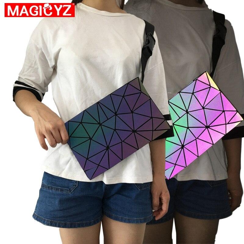 MAGICYZ Luminous Women Men Waist Bags Holographic Fanny Pack Female Belt Bag Geometric Waist Pack Laser Chest Phone Pouch