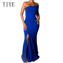 TIYE Sexy Off Shoulder High Split Bodycon Blue Maxi Dress Black Women Summer Formal Banquet Club Party Long Dresses Robe
