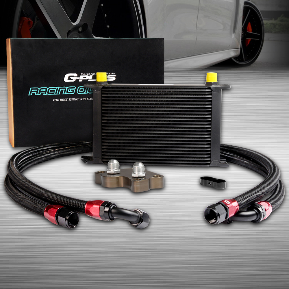 Black 25 ROW ENGINE OIL COOLER RELOCATION KIT FOR BMW MINI COOPER S R53 SUPERCHARGER