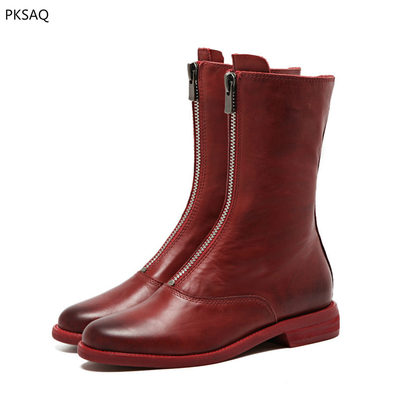 Autumn Winter New Retro Style Do Old Short Boots Shoes Womens Martins Boots Girls Zipper Motorcyle Round Toe Party Boots