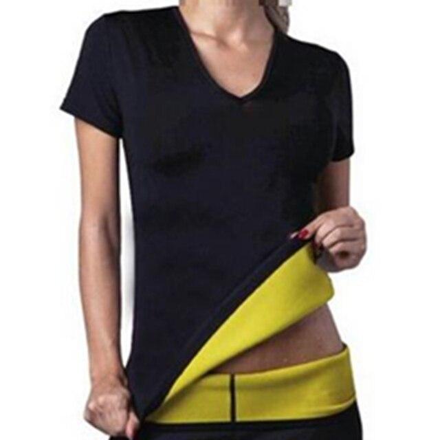 Mulheres Neoprene Shapers Camisetas Hot Shapers Emagrecimento Camisa de Manga Curta