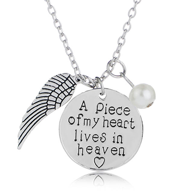 Angel Wings Necklaces Women Imitation Pearls Charms Necklace A Piece Of My Heart Lives In Heaven