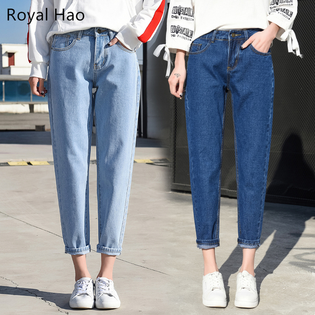 e38851e1598 R   H 2019 Для женщин брюки свободные джинсы Mom Высокая талия по колено  джинсы-