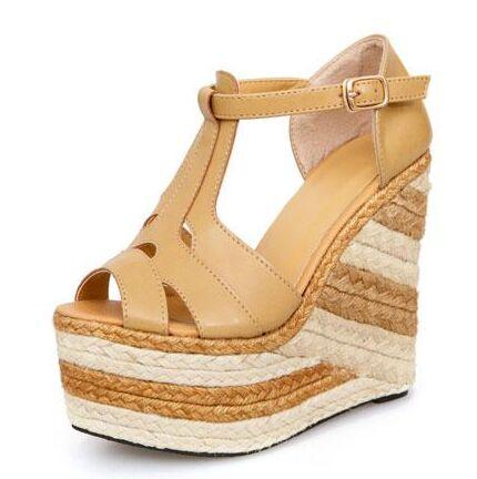 dd4a8f2c76 Tacones altos mujeres sandalias 2016 la tendencia color block sandalias de  paja trenzada cuñas de plataforma sandalias zapatos de tacón alto 14 cm  talón en ...