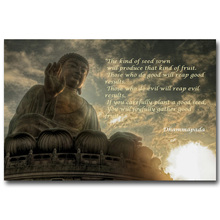 Buddha budismo cita motivacional arte seda póster de tela impresión 13×20 24×36 pulgadas imágenes Sakyamuni para la decoración para las paredes del salón 12