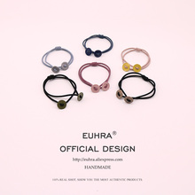 EUHRA 6 Colors Elastic Hair Bands Solid Round Shape For Women Girls Button Hair Band Kid Children Rubber Band 5 colors elastic heart shape cassic simple for women hair band kid children rubber band high elasticity hair bands