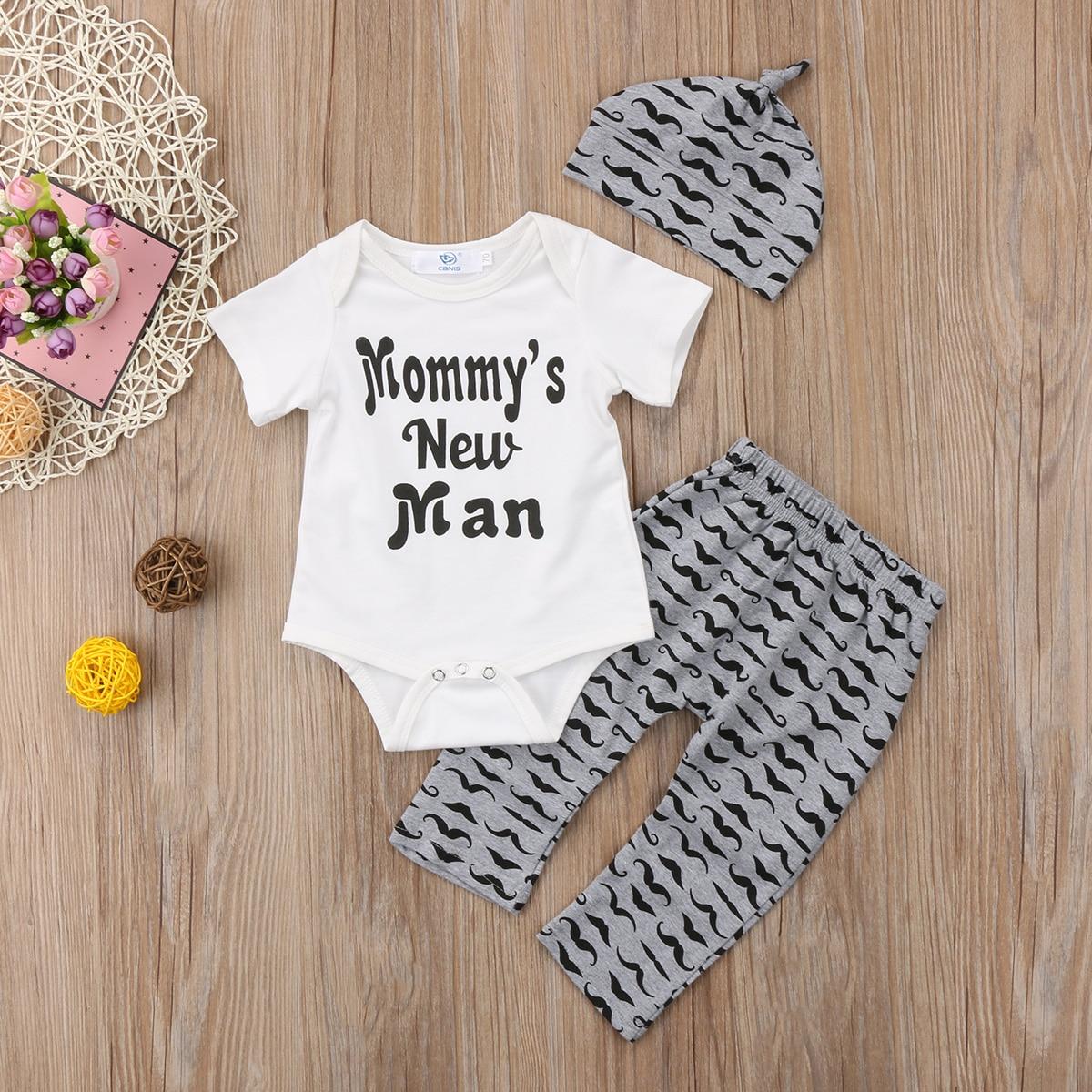 3PCS Pudcoco HOT SALE Newborn Infant Baby Boys Fashion Short Sleeve Letter Bodysuits+Pants+Hat Outfits Set 0-18M