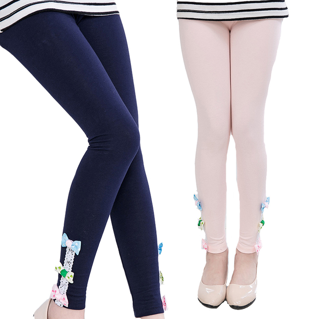 9829fb20f4 Kids Girls Leggings Cotton Bow Pants For Girls Clothing Children Ballet  Dance Leggings Candy Color Skinny Trousers 3 5 7 9 11 12