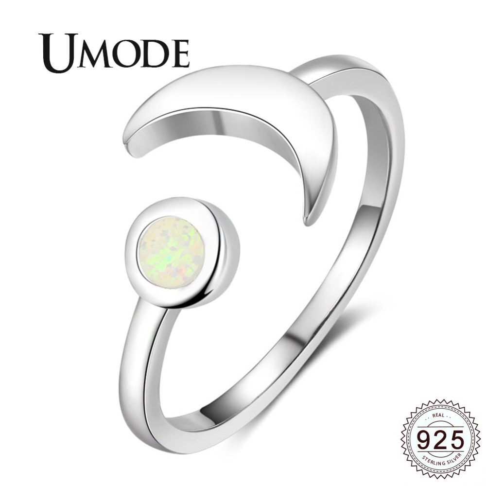 UMODE Trendy Moon 925 Sterling Silver Rings White Natural Round 2mm Opal Adjustable Ring For Women Romantic Fine Jewelry ULR0709