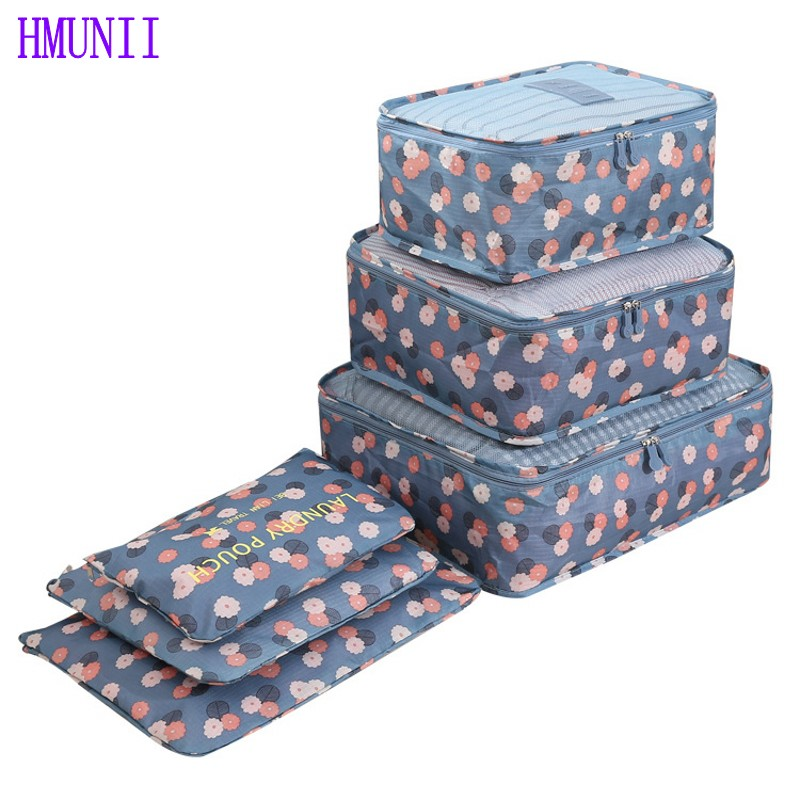 6PCS/Set High Quality Oxford Cloth Travel Mesh Bag Luggage Organizer Packing Cube Organiser Travel Bags