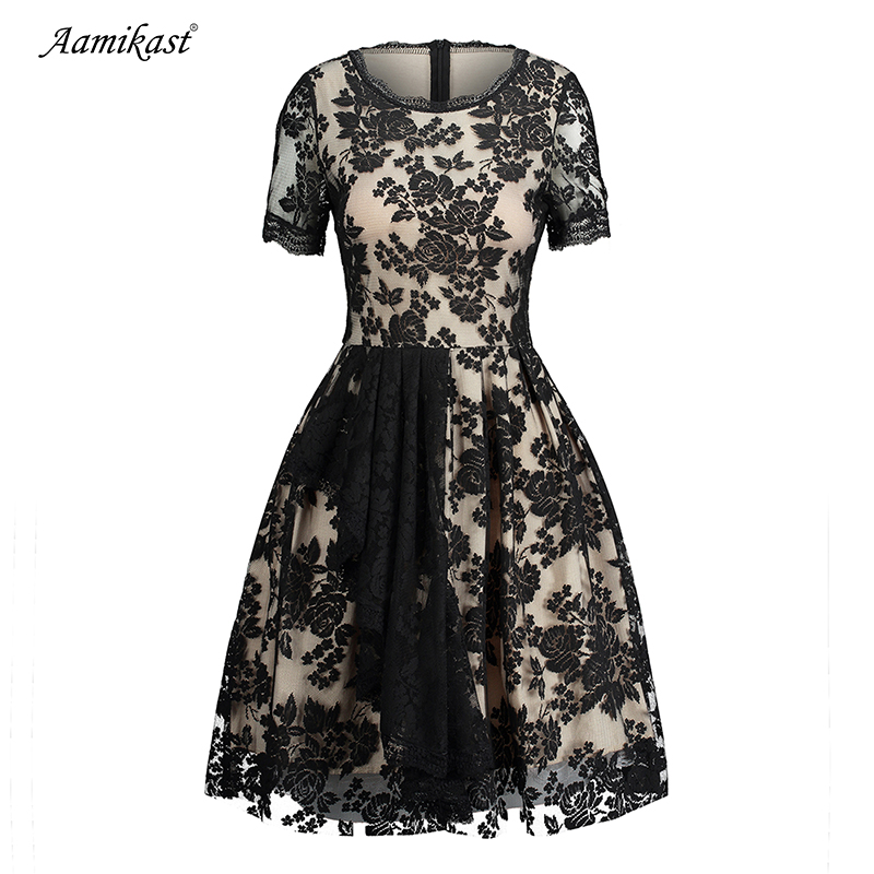 2018 Aamikast Summer Women Elegant Vintage Short Sleeve Knee Length Work Party Cocktail Tea Fit and Flare Skater A-line Dress
