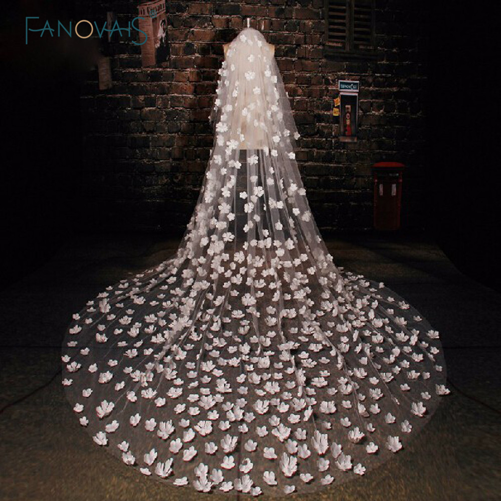 Cheap 3M Long Bridal Veils Custom Made Romantic Cathedral Appliqued Flowers Wedding Veils Wedding Accessories(TS-1011)