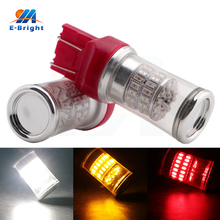 цена на 10pcs 12V White Red Amber 7440 7443 T20 Base 3014 48 SMD with Cover Led Bulb Tail Turn Signal Parking Rear Light Free Shipping