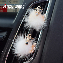 ANZULWANG Long Hair Fox Car Air Conditioning Perfume Car Interior Air Freshener Artificial Crystal Car Air Export Perfume