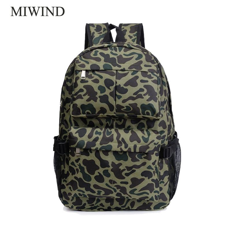 MIWIND Women Backpack Canvas Backpacks Softback Bags Brand Name Bag Fashion Camouflage Girls Backpack WUB0018 miwind 100