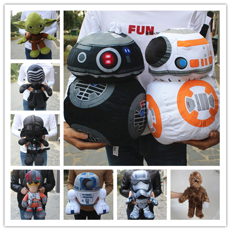 1 Stuk Enorme 35-50 Cm Star Wars Force Wekt Darth Vader R2-d2 Bb-8 Robot C-3po Master Yoda Kylo Ren Finn Gevulde Pluche Knuffels