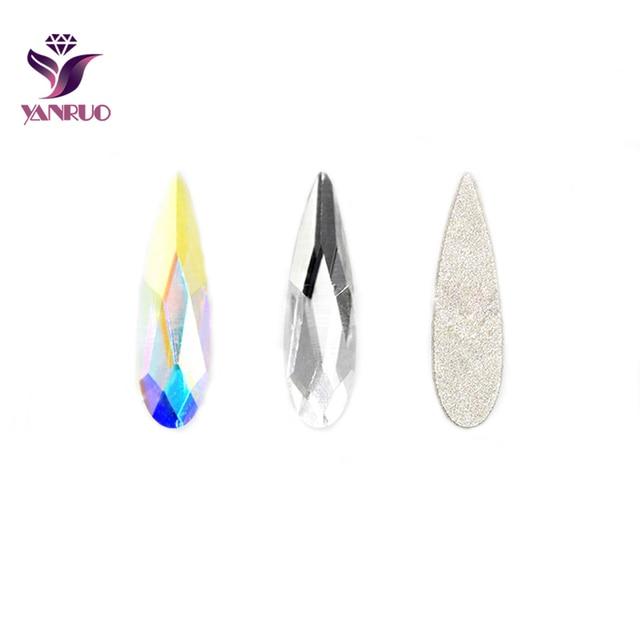 YANRUO Raindrop Rhinestones Clear and AB Crystal Flat Back Crystals No  Scratches Water Drop Strass Nail Art DIY Glue On Phone 56b081937b84