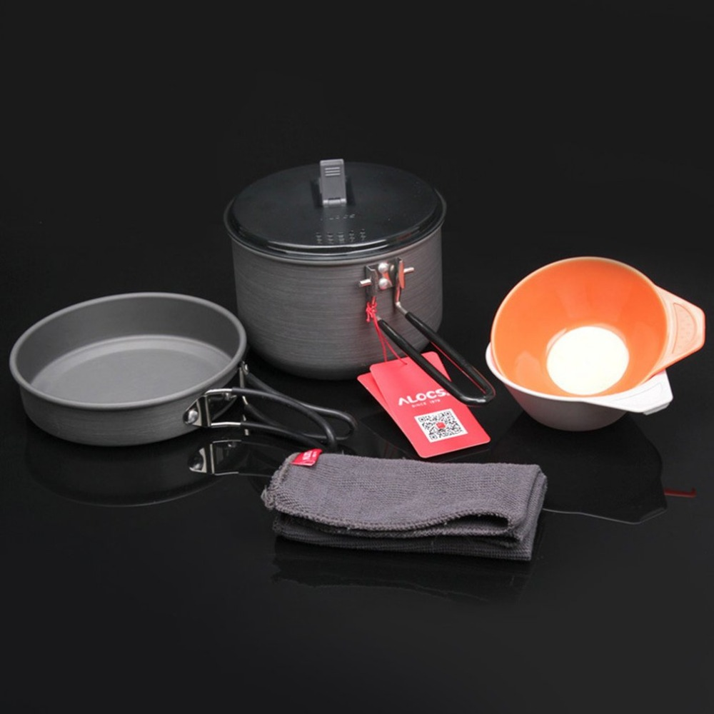 ALOCS Fast-heating Pot Camping Cooking For 1-2 Person Outdoor Cookware Picnic