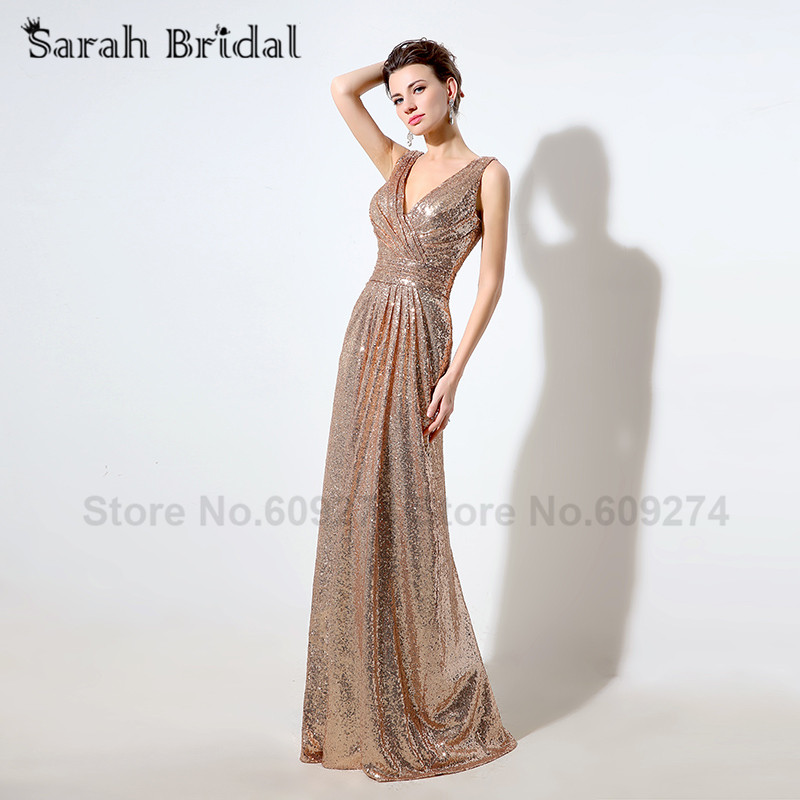 Sexy Rose Gold Sequins Pleat Mermaid Evening Dresses 2016 V Neck Blinging Wedding Guest Outfits Robe De Soiree SD349 In From Weddings