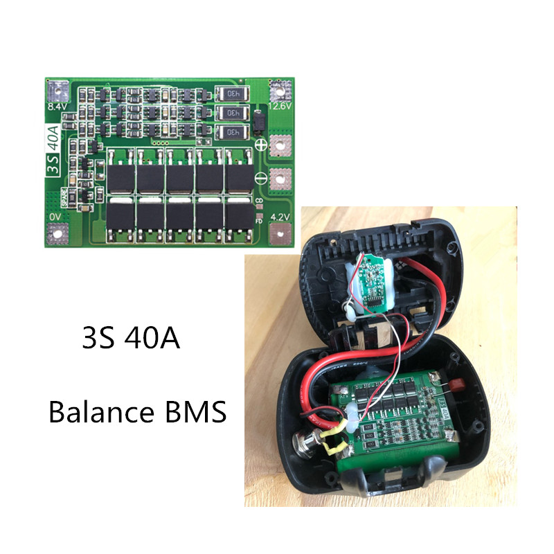 BMS 3S 40A Balance 18650 3.2V LiFePO4/3.7V Li-ion battery protection board /iron lithium BMSwith equalizing startable drill image