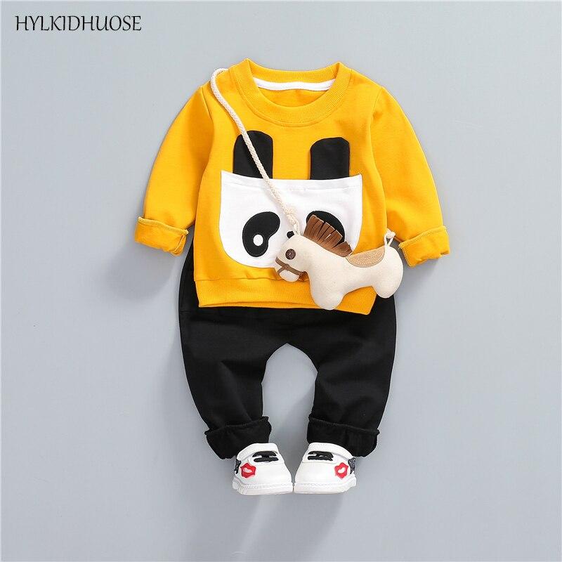 HYLKIDHUOSE 2018 Spring Baby Girls Boys Clothes Sets Cute Bear Children Casual Suits Infant T Shirt+Pants Kids Cotton Suits