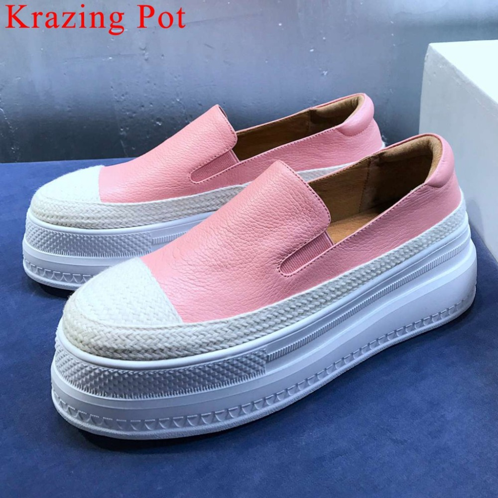 Krazing Pot mixed colors genuine leather thick high bottom platform round toe loafers slip on daily wear vulcanized shoes L18Krazing Pot mixed colors genuine leather thick high bottom platform round toe loafers slip on daily wear vulcanized shoes L18