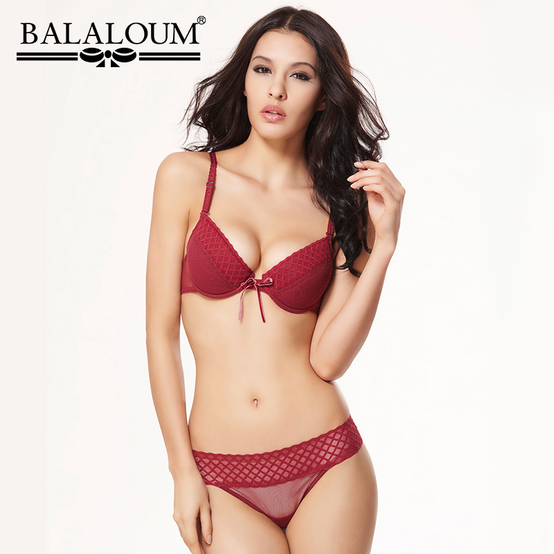 BALALOUM Women Plaid Push Up Bra and Panty Lingerie Set Sexy Female Underwear Lace Up T Back Thongs G-String Seamless Black Red