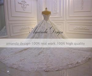 Image 4 - Robe mariage fora do ombro manga curta rendas apliques 3d flor vestido de casamento luxo