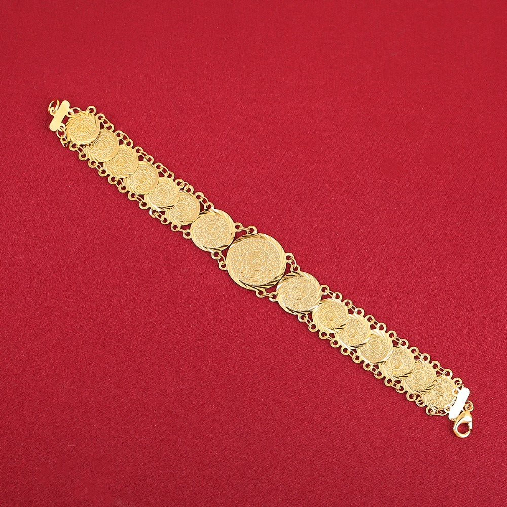 Islam Coin Bracelet Women Gold Color Filled Hand Bracelet Wholesale Muslim Arab Middle East Jewelry Africa Wedding